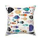 Fish Abstract Ocean Swimming Throw Pillow Cover w Optional Insert by Roostery