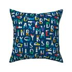 Abc Modern Typography Colorful Throw Pillow Cover w Optional Insert by Roostery