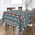 Tablecloth Ufo Space Vintage Alien Blue Red Mod Retro Flying Cotton Sateen