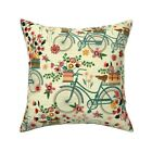 Bicycles And Flowers Bicycle Throw Pillow Cover w Optional Insert by Roostery