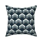 Geometric Retro Style Blue Throw Pillow Cover w Optional Insert by Roostery