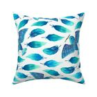 Birds Painting Feathers Blue Throw Pillow Cover w Optional Insert by Roostery