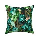 Tropical Leaves At Night Jungle Throw Pillow Cover w Optional Insert by Roostery