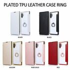 Cell Phone Case Electroplated Transparent Tpu Leather Card Slot Flip Ring Stand