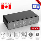 Electric LED Alarm Clock W/Phone Wireless Charger Desktop Digital Thermometer CA