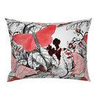 Insect Botanical Bug Nature Red And White Large Scale Pillow Sham by Roostery image