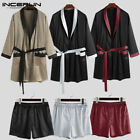 2PCS Mens Kimono Pajamas Set Bathrobe Shorts Suit Loungewear Nightwear Tops Pant