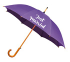Purple Wedding Umbrella Just Married in Gold, Silver or White - Wooden Handle