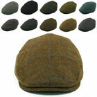 FLAT Cap 100% Wool Mens Herringbone Tweet Irish Golf Hat Gatsby Baker Boy New