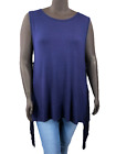 New! HAYDEN Plus Size dark blue rayon sleeveless tank with side fringe