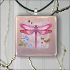 DRAGONFLY PINK INSECT #3 PENDANT NECKLACE 3 SIZES CHOICE -teg7X