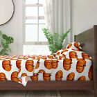 Pumpkin Watercolor Fall Halloween 100% Cotton Sateen Sheet Set by Roostery image
