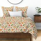Autumn Halloween Fall Leaves Harvest Watercolour Sateen Duvet Cover by Roostery image