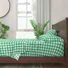 Irish Kelly Green Gingham Check 100% Cotton Sateen Sheet Set by Roostery