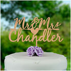 Wooden Wedding Cake Toppers PERSONALISED Rustic Mr and Mrs Cake Decorations