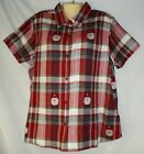 Women's Red Plaid Christmas Santa Claus Shirt 1X 2X 100% Cotton NWT