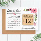 PERSONALISED Pink Flower Floral Wooden Save The Dates Calendar Fridge Magnets