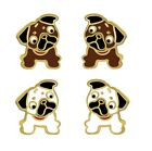 14k Gold On 925 Sterling Silver White Brown Bulldog Puppy Pug Dog Stud Earrings