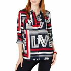 TOMMY HILFIGER NEW Women's Striped Love-print Button Down Shirt Top L TEDO