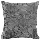 Art Deco Cushion. Luxury Velvet Chenille. Grey and Silver Geometric Design.