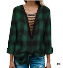 Women Long Sleeve Plaid Shirt V Neck Casual Loose Pocket Button Down Shirts M