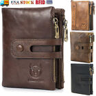 Mens Wallet Genuine Leather RFID Bifold with 2 Zipper Coin Pockets Organizer US image