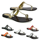 Womens Flat Sandals Diamante Toe Post Slip On Casual Sliders Shoes Size 3-9
