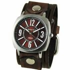 Burgundy Comely Watch with Brown Vintage Embossed Striped Leather Cuff Band BVEB