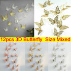 Uk 12pcs Hollow Butterfly 3d Wall Stickers Decors Wall Art Home Room Decorations