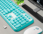 Cute Multicolour Retro Round Keycap 2.4GHz Wireless Keyboard & Mouse Set For PC.