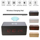 Modern Wooden Digital LED Desk Alarm Clock Thermometer +Qi Wireless Charger Pad