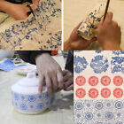 Transfer Paper Pottery Underglazed Color Figure Flower Blue and White Decal DIY image