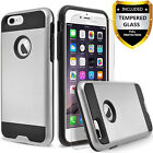 For iPhone SE 2020 Case, Dual Layer Hybrid Shockproof + Tempered Glass Protector