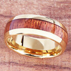 Koa Wood Tungsten YG Plated Oval Wedding Ring 6mm/8mm image
