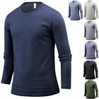 NEW Mens Stylish Slim Fit Crew O Neck Long Sleeve Tee T-shirt Top Blouse E10 S/M