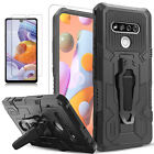 For LG K51 Phone Dual Layer Shockproof Cover + Tempered Glass Protector
