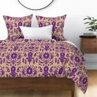 Ikat Floral Purple Beige Modern Fable Tan Trend Sateen Duvet Cover by Roostery image