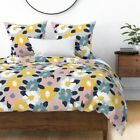 Floral Abstract Yellow Blue White Kitchen Sateen Duvet Cover by Roostery image