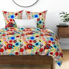 Floral Watercolor Abstract Retro Botanical Sateen Duvet Cover by Roostery image