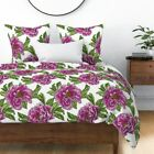 Floral Botanical Flower Garden Peonies Large Sateen Duvet Cover by Roostery image