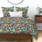 Floral Children Kids Girl Bright Scandinavian Sateen Duvet Cover by Roostery image
