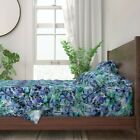 Teal Watercolor Floral Blue Flowers 100% Cotton Sateen Sheet Set by Roostery image