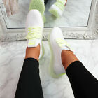 WOMENS LADIES LACE UP MESH KNIT TRAINERS SNEAKERS CLEAR HEEL WOMEN SHOES SIZE