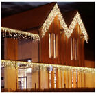 US 13-130FT LED Fairy Icicle Curtain Light Party In/Outdoor Xmas Lamp Warm White