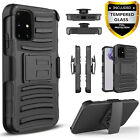 For Samsung Galaxy A51 Phone Case, Armor Belt Clip + Tempered Glass Protector