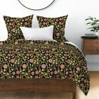 Rose Floral Flowers Woodland Leaves Sateen Duvet Cover by Roostery image