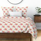 Floral Flowers Pink Boho Mexico Summer Aztec Sateen Duvet Cover by Roostery image