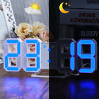 Large 3D Display Digital Wall Desk Alarm Clock LED 12/24h Snooze Bright Dimmer
