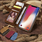 Retro Canvas Magnetic Wallet Leather Case Cover for iPhone 11 Pro Max/11 Pro/11