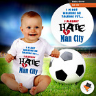 I HATE MAN CITY FUNNY BABY GROWS BODYSUIT VEST TOP FOOTBALL THEME BOYS GIRLS NEW
